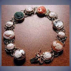 Nice mixed cameo bracelet in 14 kt gold