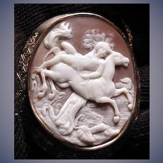 Rare cameo of man strapped to horse