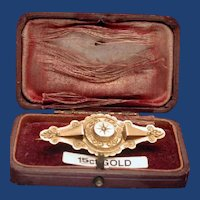 Victorian boxed target pin with diamond