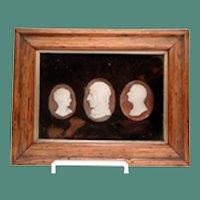 Fine museum quality plaque with 3 cameos