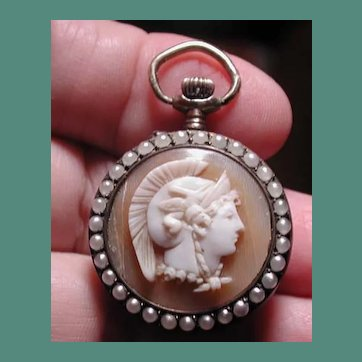 Rare cameo pocket watch with cultured seed pearls