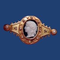 Fine banded agate stone cameo with seed pearls