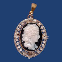 Fine stone cameo with seed pearls