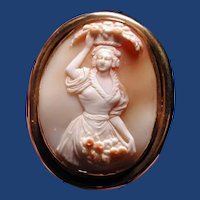 Unique cameo of women with basket on her head