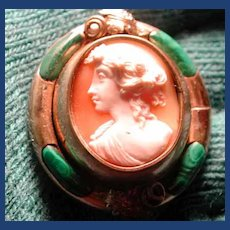 Fab cameo with woven hair on back and green malachite