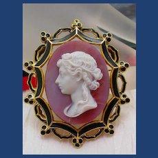 Rare pink agate cameo of beautiful women