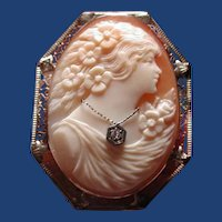 Lovely cameo Habille in 14 kt white gold filigree
