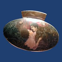Hand painted Russian cameo with lovers and faces