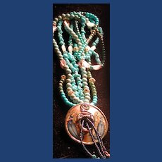 Hand painted Russian mermaid necklace with turquoise