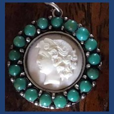 Fine pink conch and turquoise cameo pendant