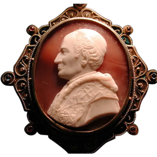 Rare and fine cameo of Pope Leo XIII