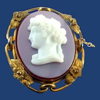 Large sardonyx and glass cameo pin