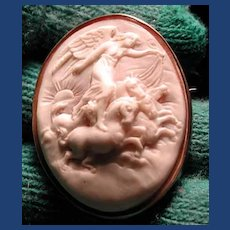 Lovely cameo of Eos the Goddess of the Dawn with horses HOLD FOR LINDA