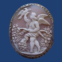 Lovely cameo of Cupid with flowers-The cameo of love
