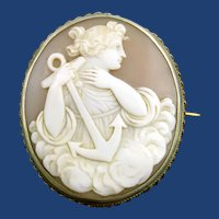 Fine Victorian cameo of Hope with anchor