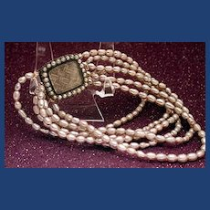 Victorian seed pearl and hair bracelet