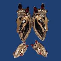 Fabulous Coro  horse sterling duet with earrings