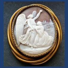 Victorian angel pointing to heaven cameo