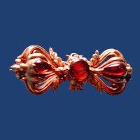 Victorian garnet pin with hair locket back