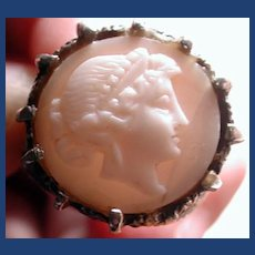 Large cameo ring in silver