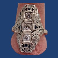 Wonderful diamond and sapphire filigree ring