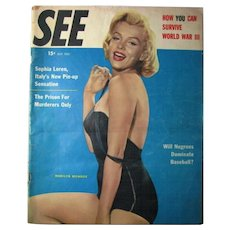 Vintage 1955 See Magazine Marilyn Monroe Cover Sophia Loren Pin Up Bathing Suit