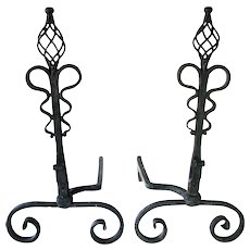 Antique Arts Crafts Roycroft Spiral Top Serpentine Wrought Iron Andirons Fire Dogs