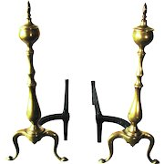 Antique Queen Anne Chippendale Style Brass Urn Top Cabriolet Leg Andirons