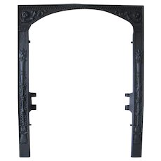 Antique Victorian Torch Floral Bead Cast Iron Fireplace Fire Door Frame Surround