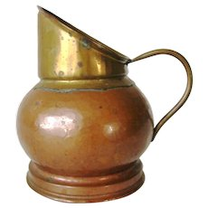 Antique Hand Crafted Copper Brass Dinanderie Veritable Belgium Milk Cream Pitcher