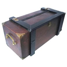 Antique Arts & Crafts Walnut Wood Carriage Sewing Strong Box