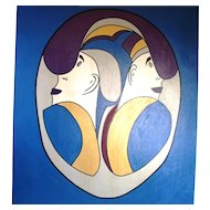 Vintage Huge Oil Canvas Picasso Style Abstract Painting Face II Artist Signed Cary
