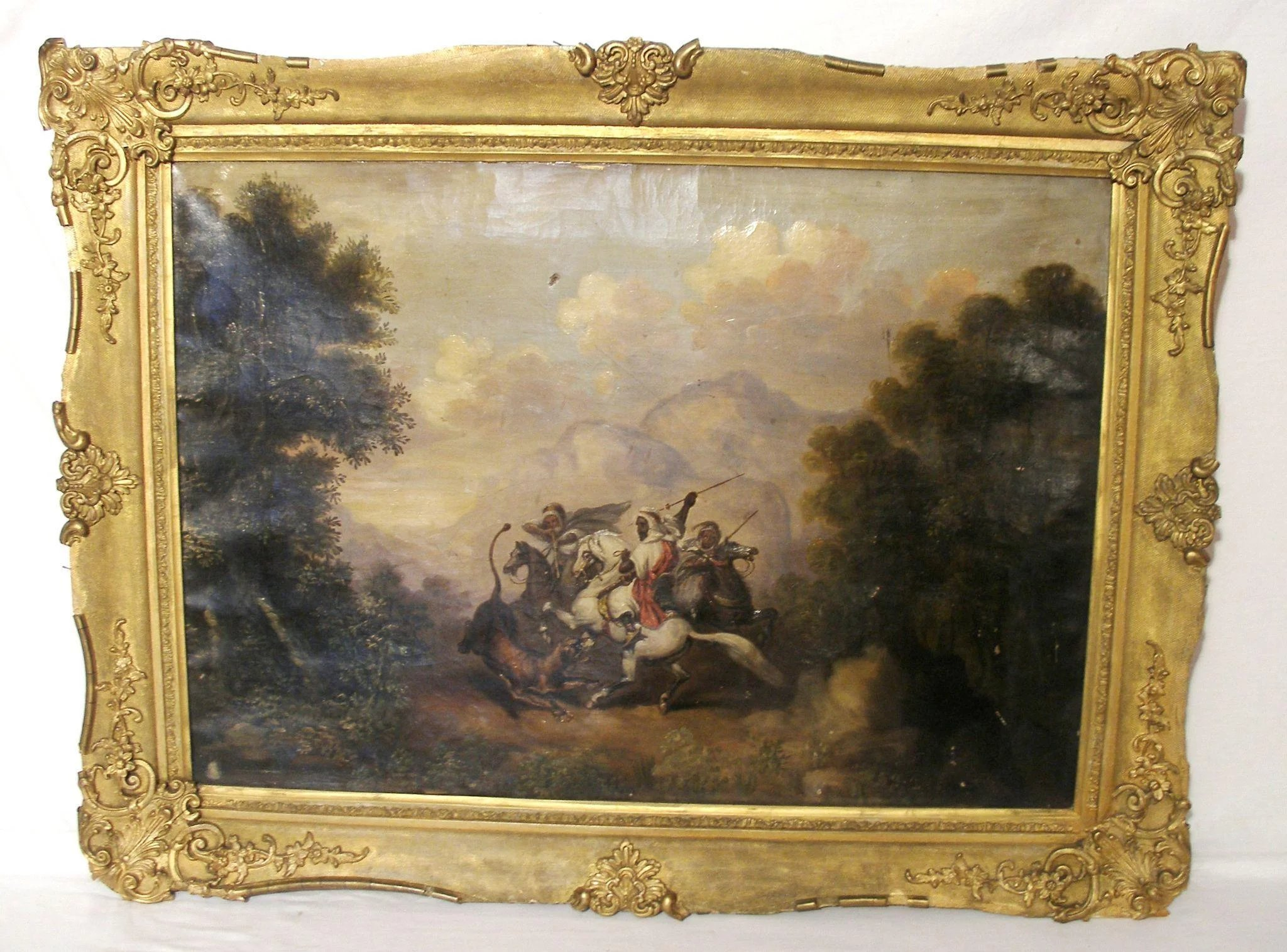 Antique Ny Artist Arabian Knight Lion Fight Oil Edward