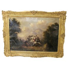 Antique Ny Artist Arabian Knight Lion Fight Oil Edward Dechaux Canvas Painting