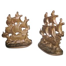 Antique Nautical Spanish Galleon Ship Sailboat Schooner Frigate Bookends Book Ends