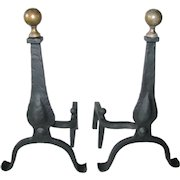Antique Arts & Crafts Brass Ball Top Cabriolet Leg Hand Forged Andirons Fire Dogs