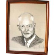 Vintage Art Signed Murray L. Adamsson Jr. Watercolor Charcoal Painting Dwight Eisenhower Ike Portrait