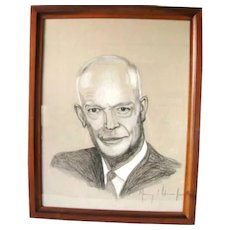 Vintage Art Signed Murray L. Adamsson Jr. Watercolor Charcoal Painting Dwight Eisenhower Ike Portrait