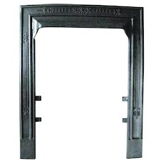 Antique Victorian Cast Iron Ribbed Sparkle 18 40 Fireplace Door Frame Surround