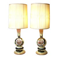 Vintage Victorian Royal Vienna Style Hand Painted Enhancement Bristol Blown Glass Lamps.