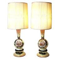 Vintage Victorian Royal Vienna Style Hand Painted Enhancement Bristol Blown Glass Lamps.