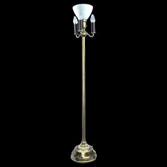 Mid Century Modern Fleur De Lis Gold Bronze Gilt Mogul Torchier 7 Way Floor Lamp