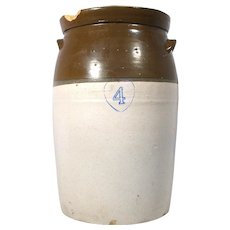 Antique Hand Thrown Blue Heart Stoneware Pottery 4 Gal Brown Butter Milk Churn Crock