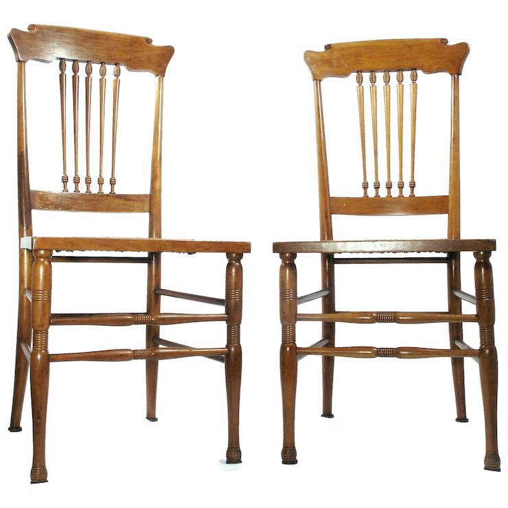 Antique Cane Bottom Walnut Scandinavian Style Kitchen / Desk / Side Chairs  Set Of 2 - Antique Cane Bottom Walnut Scandinavian Style Kitchen / Desk / Side