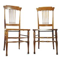 Antique Cane Bottom Walnut Scandinavian Style Kitchen / Desk / Side Chairs Set Of 2
