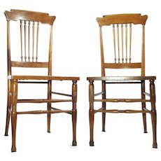 Antique Cane Bottom Walnut Scandinavian Style Kitchen / Desk / Side Chairs Set Of 2