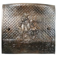 Antique Figural Lover's Serenade Cast Iron Fire Place Opening Surround Cover / Door / Screen.