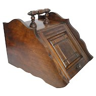 Antique Art Crafts Metal Lined Walnut Wood Coal Ash Fireplace Fire Scuttle Box