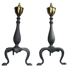 Vintage Cast Iron Brass Claw Feet Black Queen Anne Andirons Fire Place Dogs