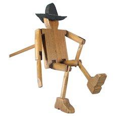 Folk Art Wooden Cowboy Stick Limberjack Jig Doll Hand Performer Puppet